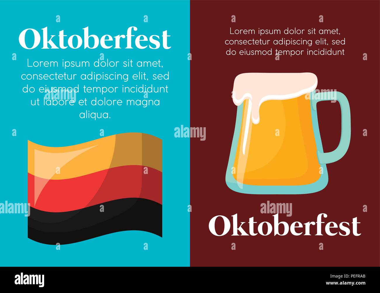 infographic of oktoberfest concept with germany flag and beer glass icon, colorful design. vector illustration - Stock Image