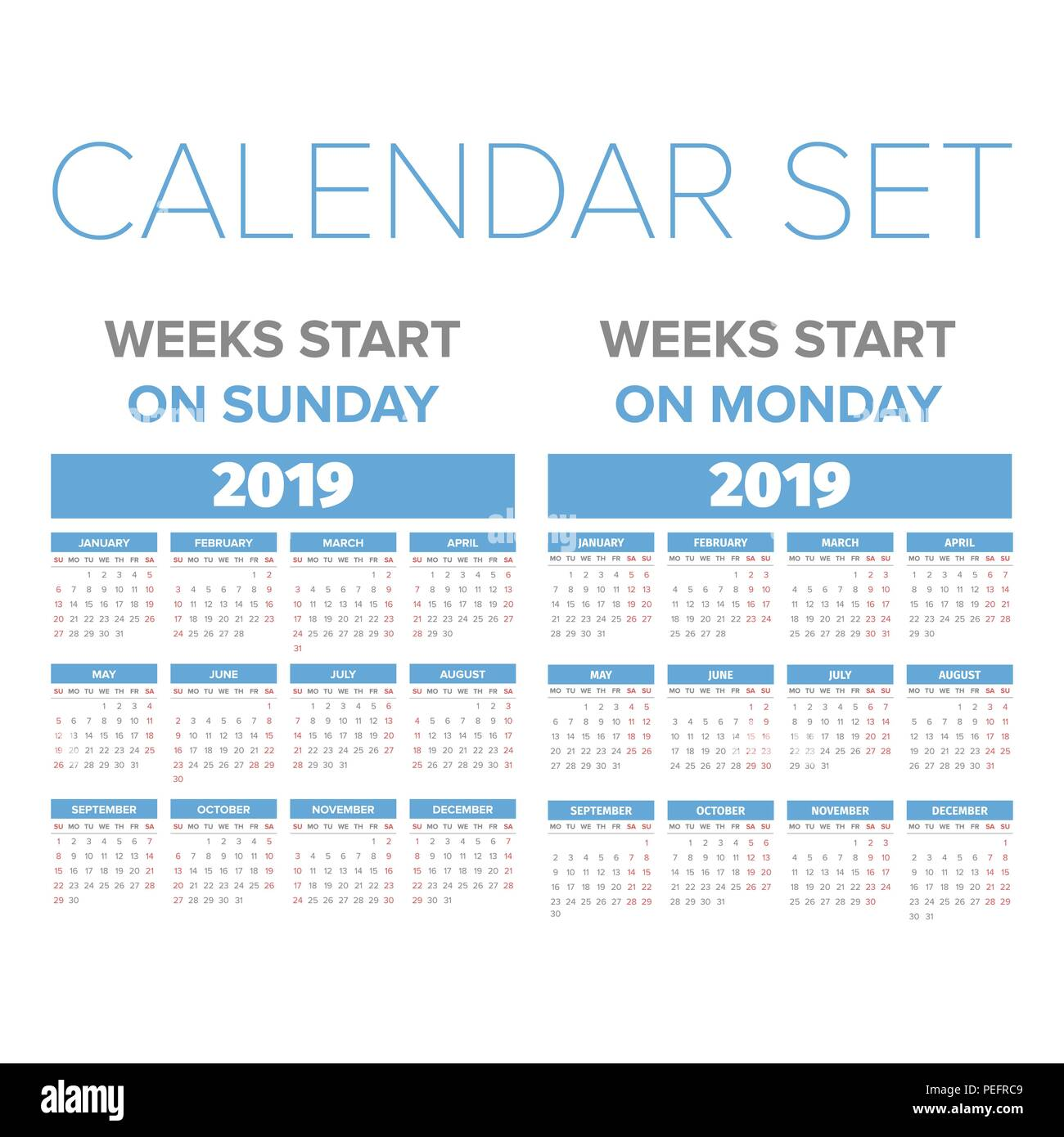 simple 2019 year calendar set week starts on sunday and monday