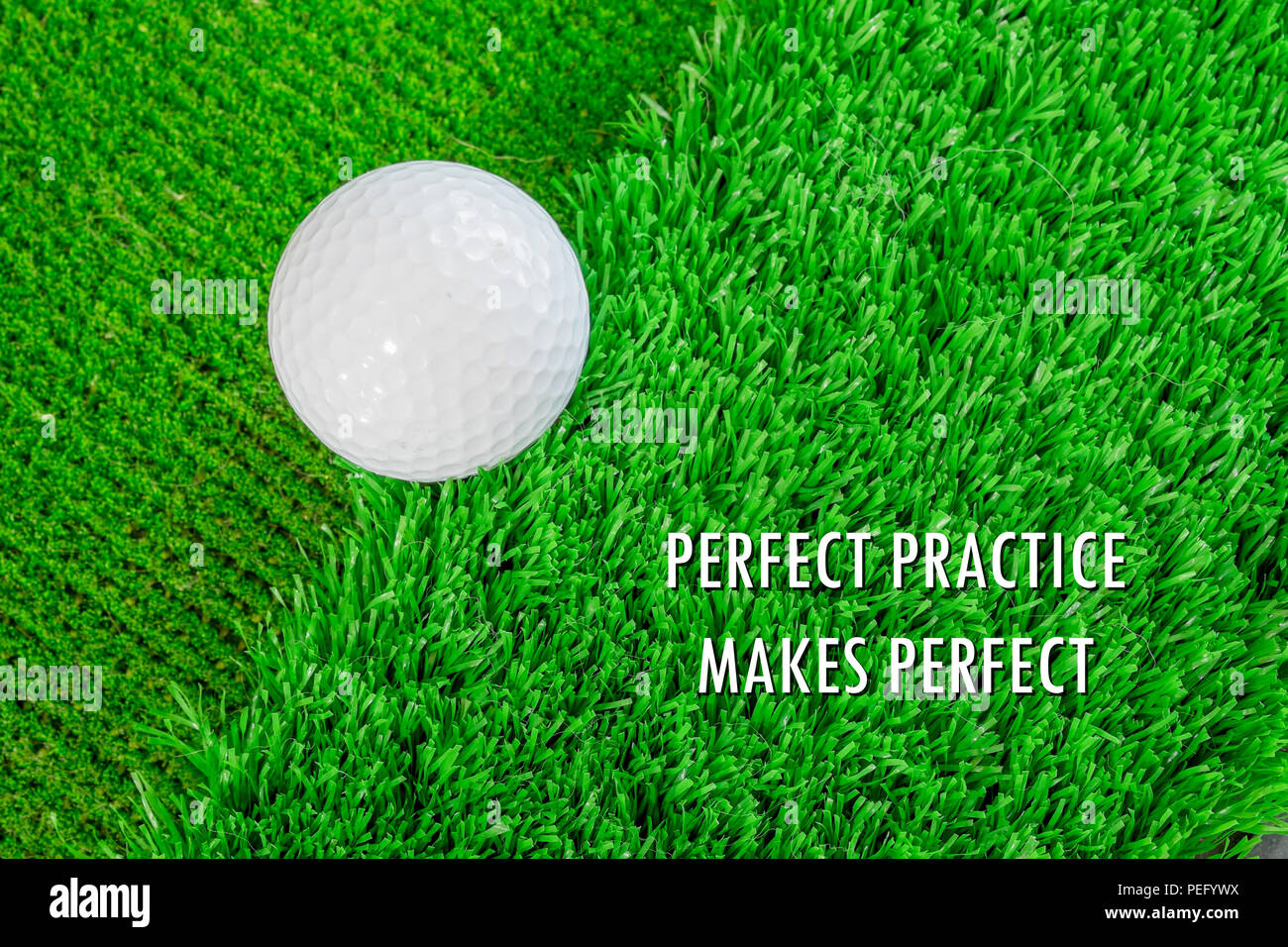White Golf Ball On Green Artificial Grass Practice Putting On The
