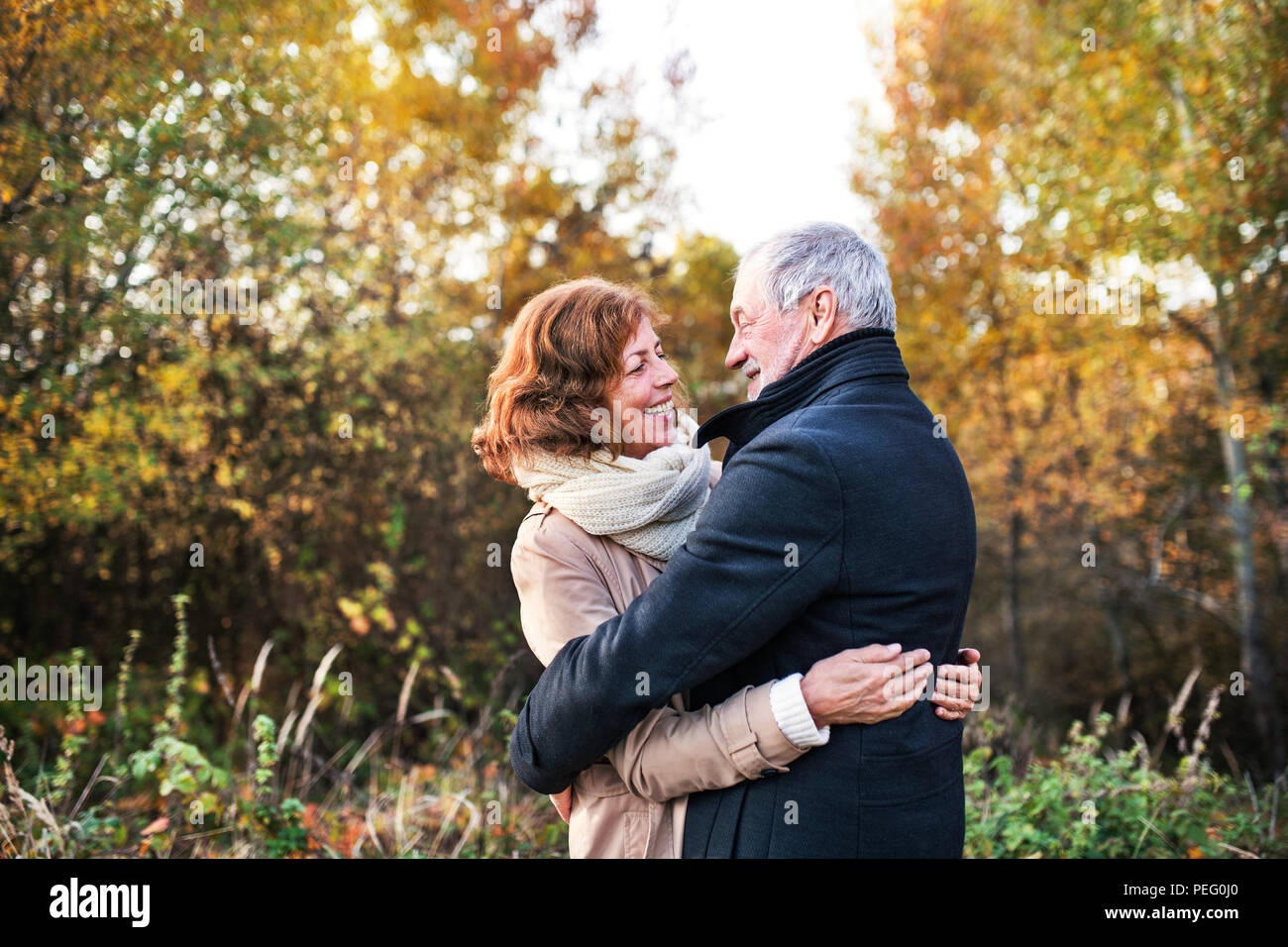 Senior couple looking at each other in an autumn nature, hugging. - Stock Image