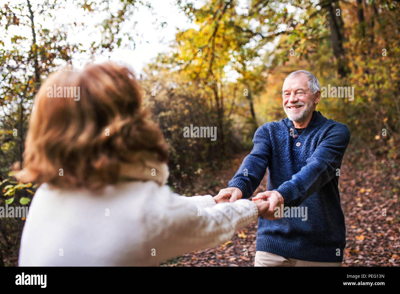 Senior couple in an autumn nature, holding hands and spinning. - Stock Image