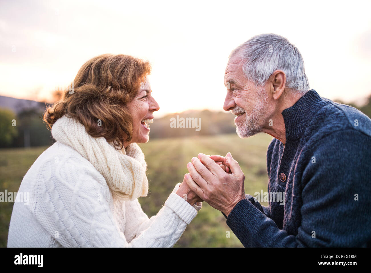 Senior couple looking at each other in an autumn nature, holding hands. - Stock Image