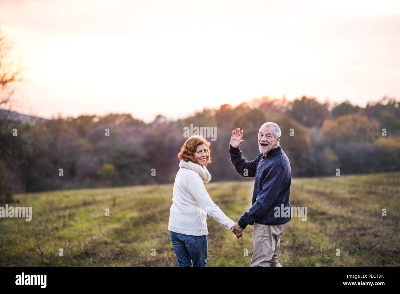Senior couple walking in an autumn nature, holding hands. - Stock Image