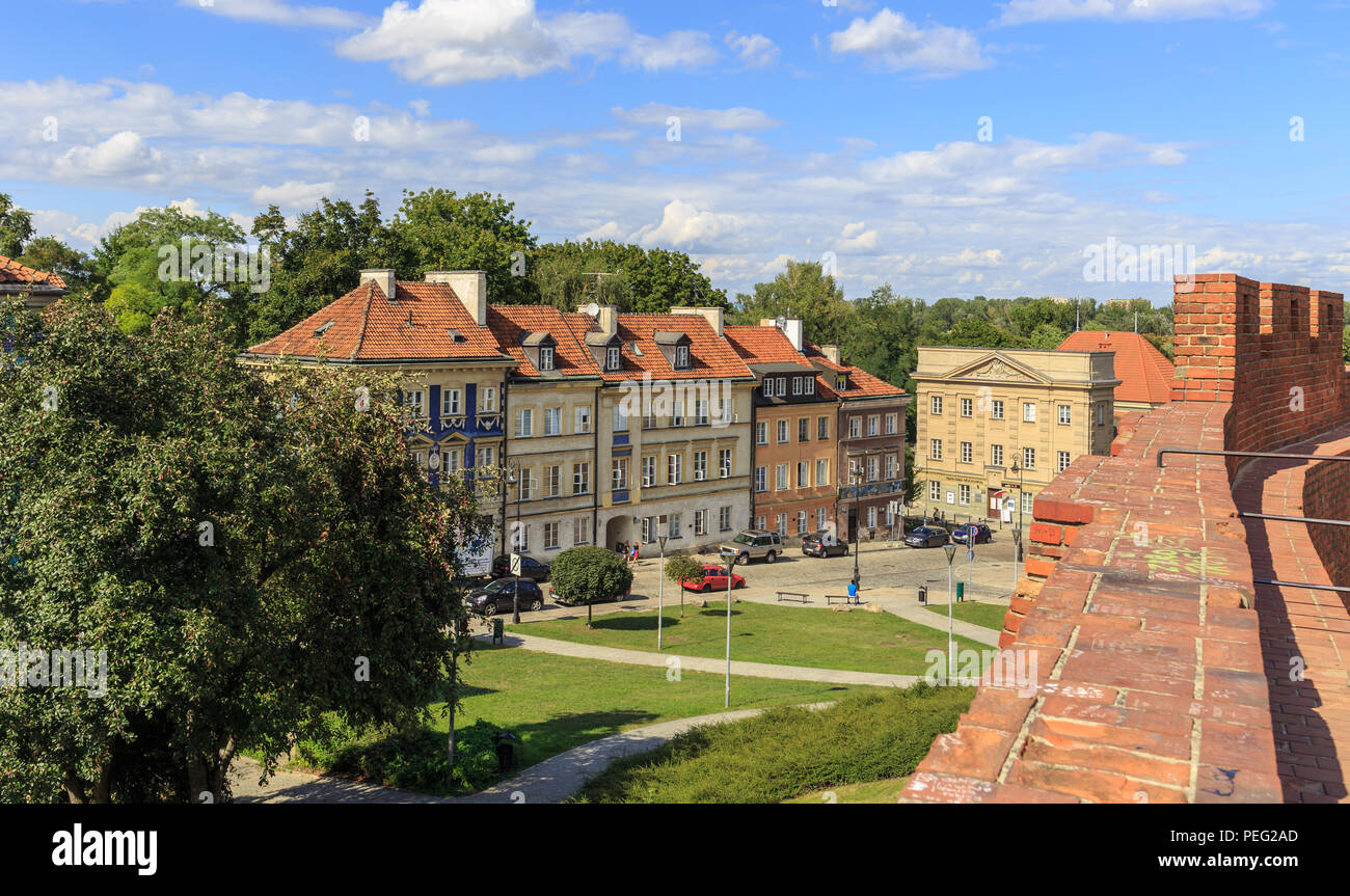 View of tenements at Mostowa Street in  New Town in Warsaw. Last on right is  building of Stara Prochownia Theater - Stock Image