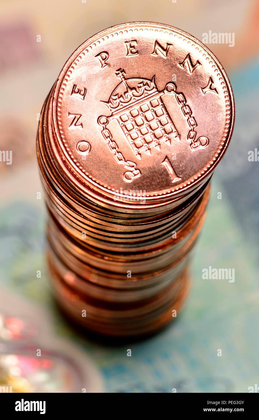 Pile of British pennies Stock Photo