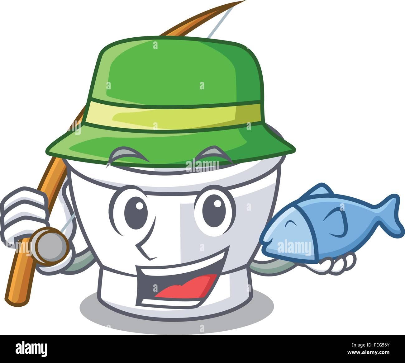 Fishing mortar mascot cartoon style - Stock Vector