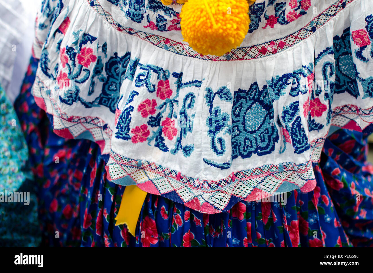 Details of a traditional Panamanian dress - Stock Image