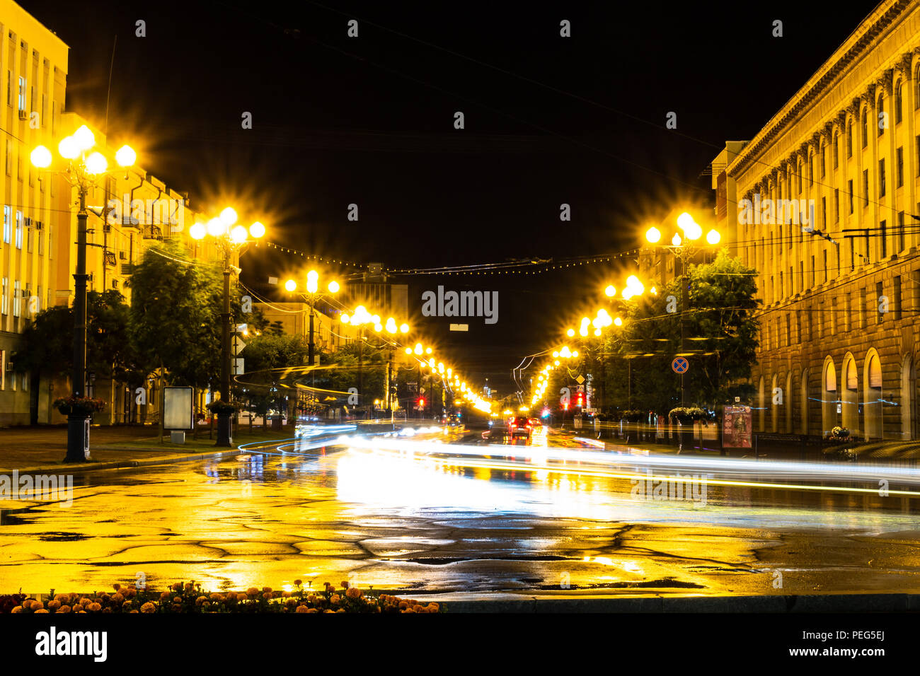 Khabarovsk, Russia - August 13, 2018: Lenin square at night under the light of lanterns. Stock Photo