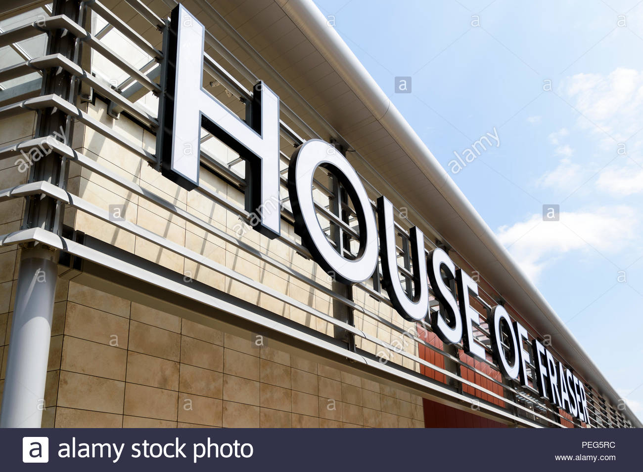 House Of Fraser sign above a new store in Rushden Lakes, Northamptonshire, England, UK - Stock Image
