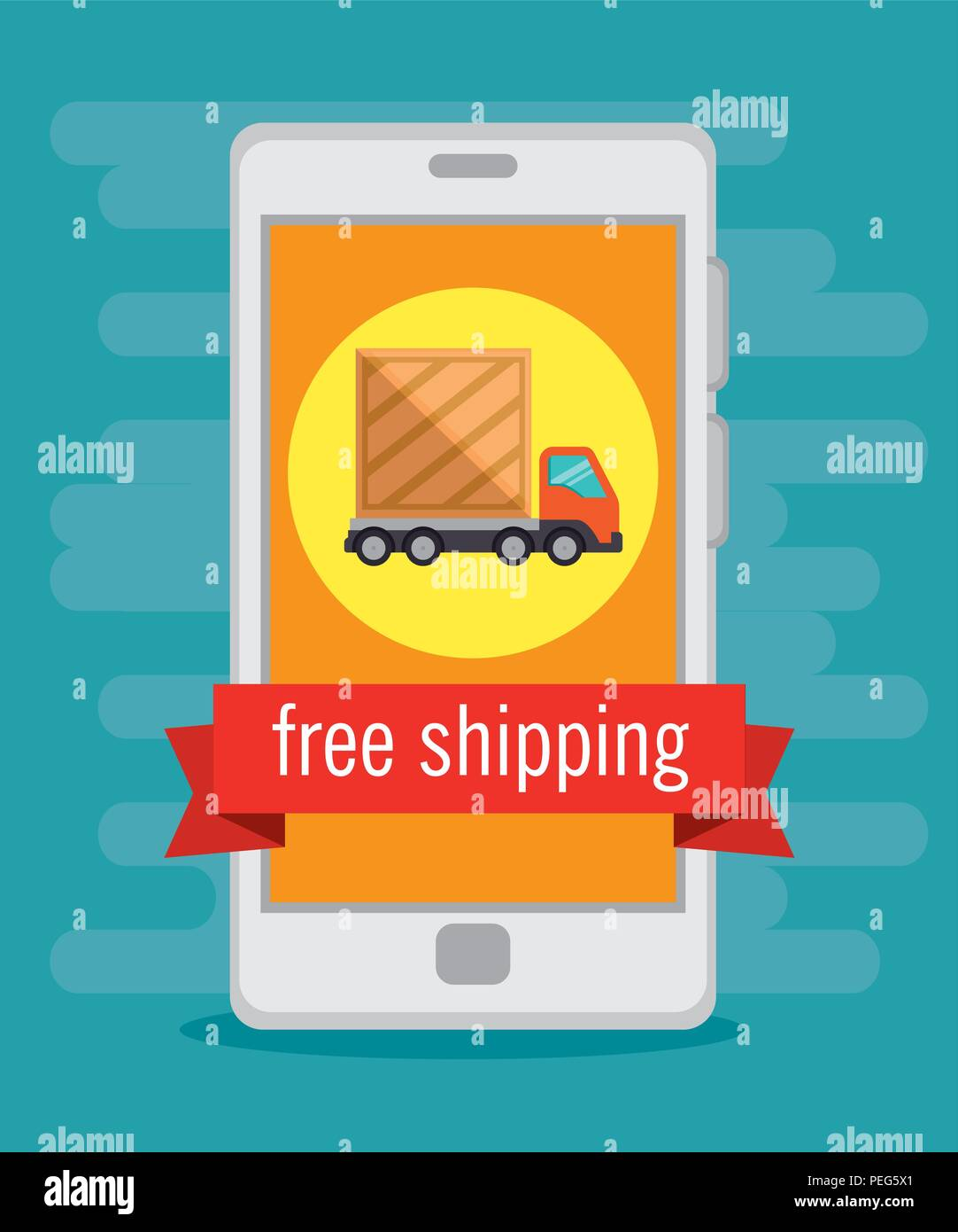 import free shipping with smartphone online vector illustration design - Stock Vector
