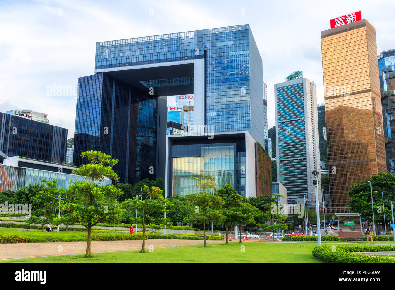 Hong Kong - August 01, 2018: View of Tamar Park and Central Government Complex Building Stock Photo
