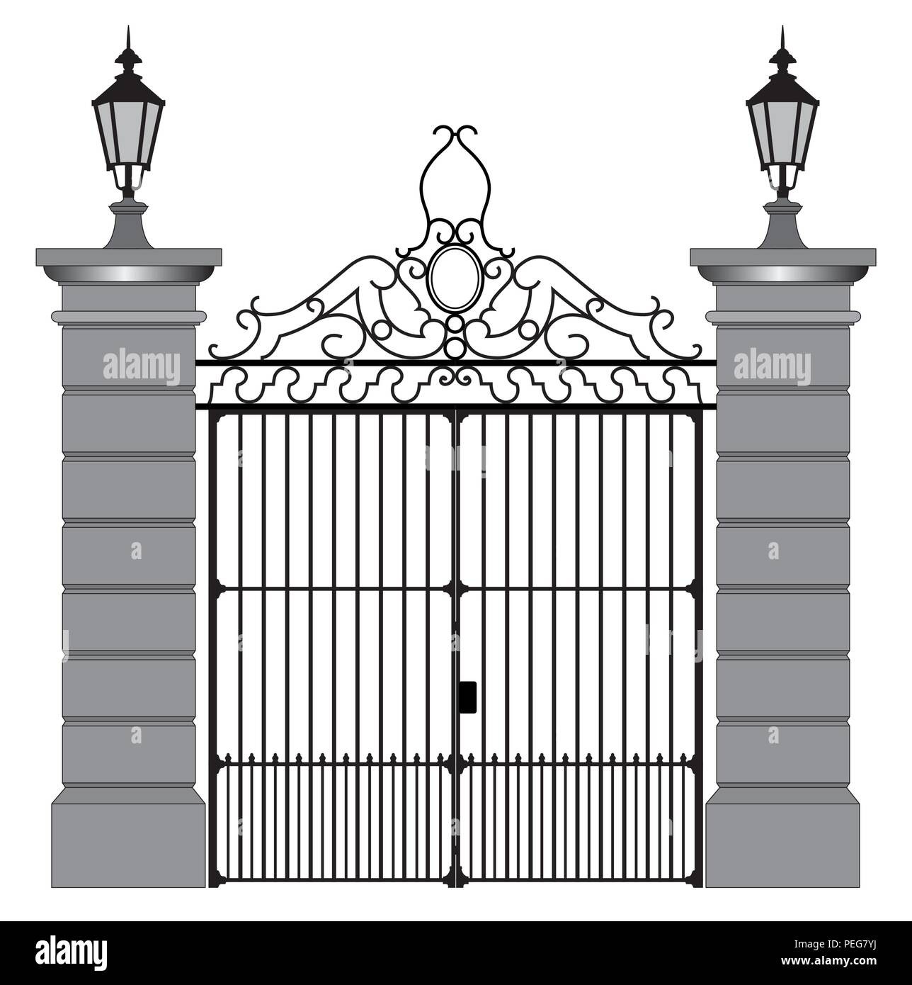 vector illustration of a wrought iron gate - Stock Image