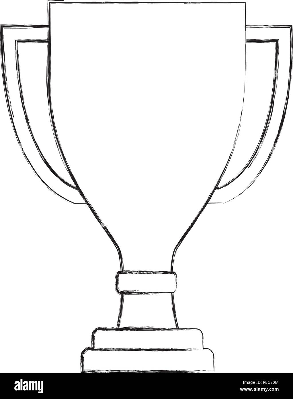 award trophy winner cup honor symbol hand drawing stock