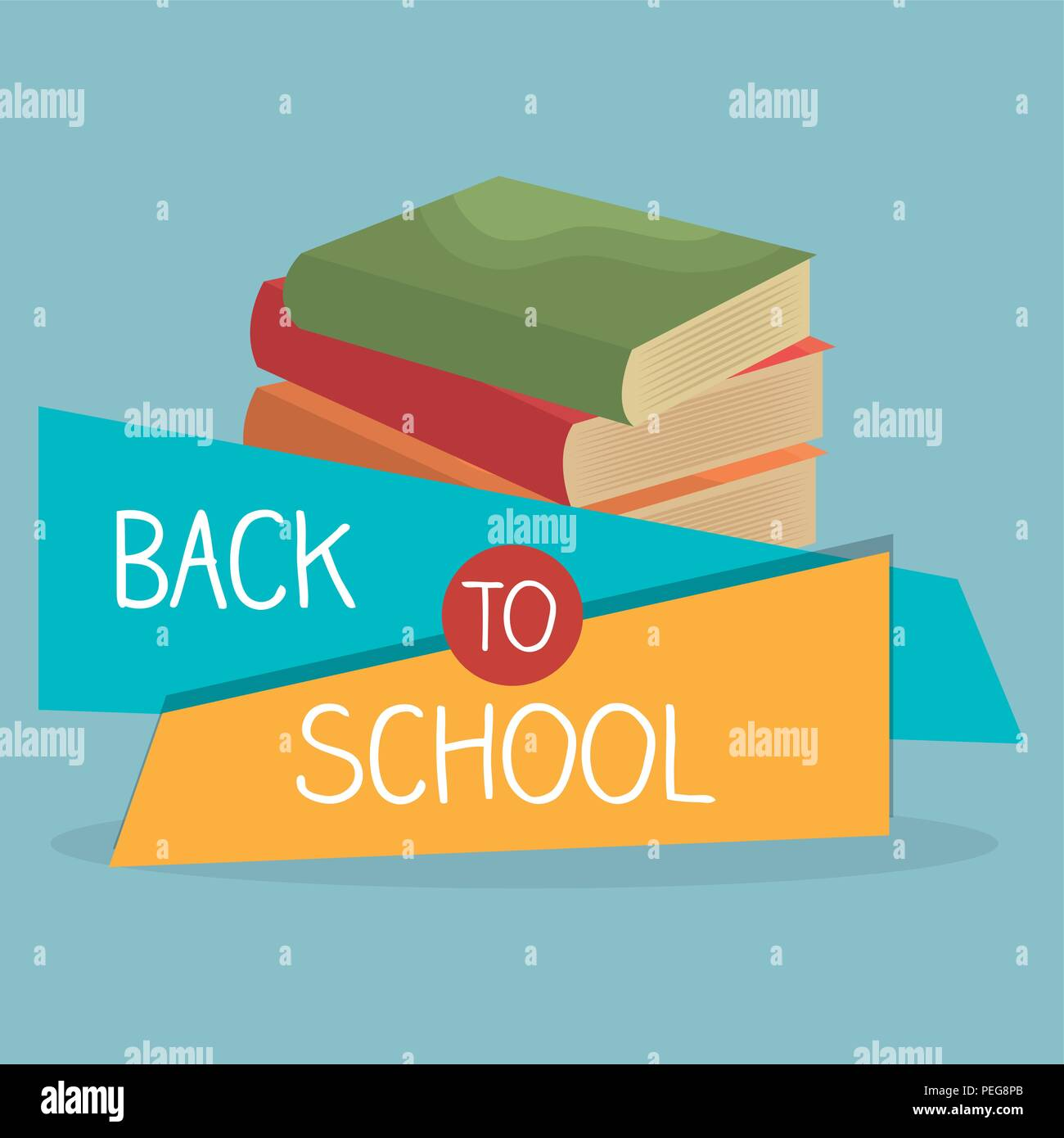 back to school label with books and supplies vector illustration