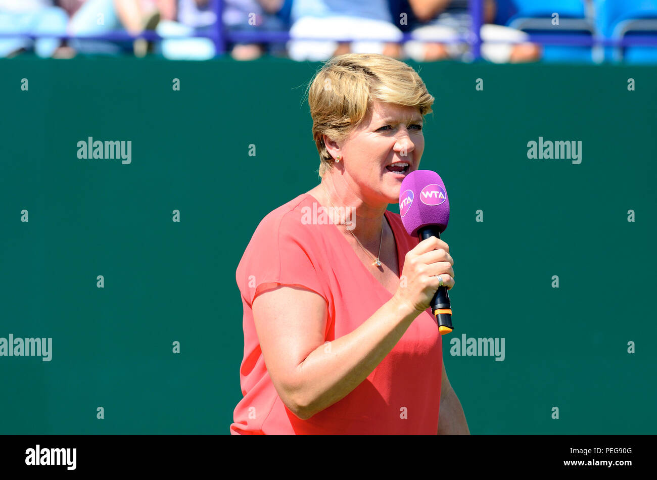 Clare Balding introducing the players at the end of the Ladies' Final of the Nature Valley International at Eastbourne before interviewing them for... - Stock Image