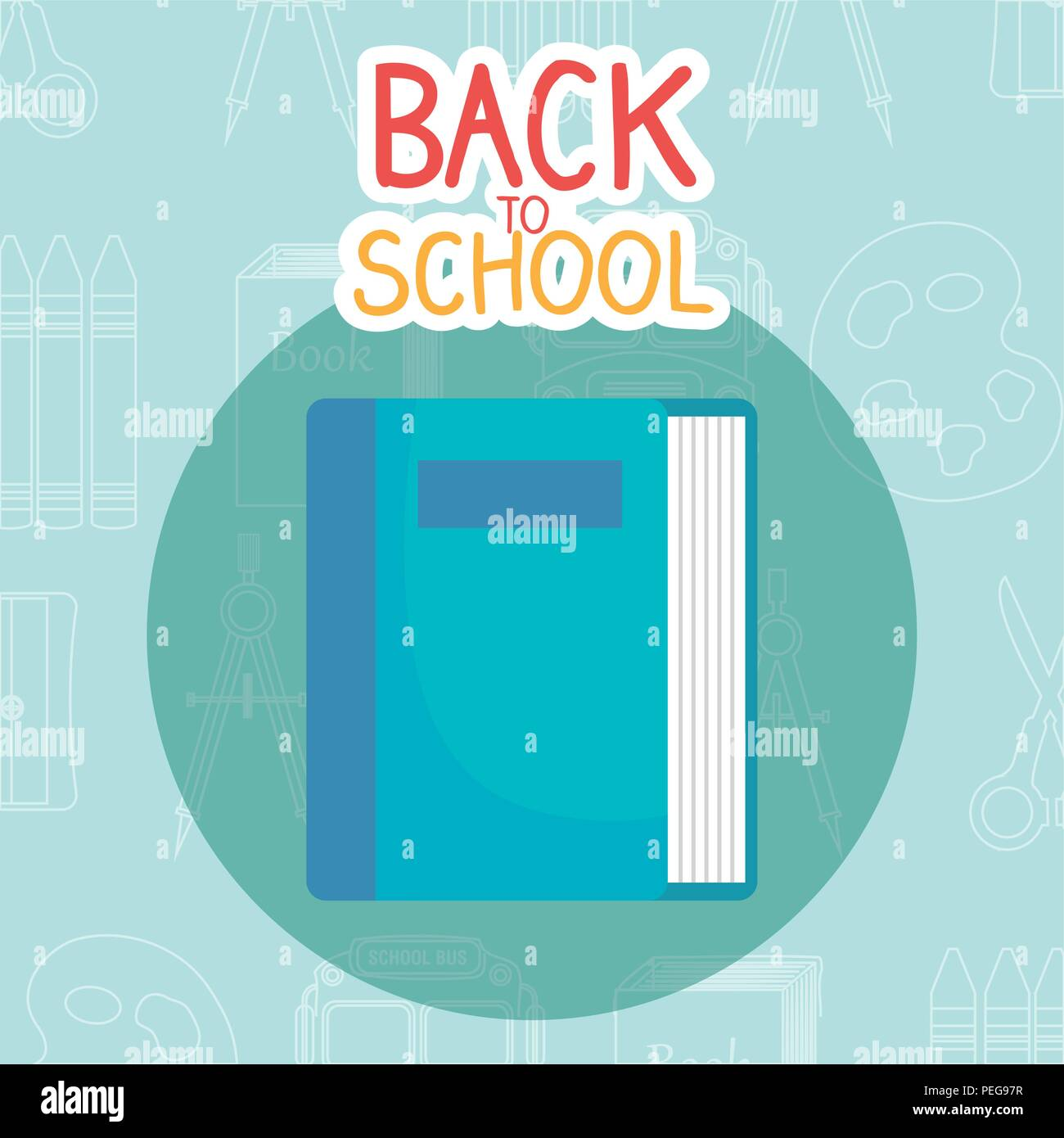 back to school label with books and supplies vector