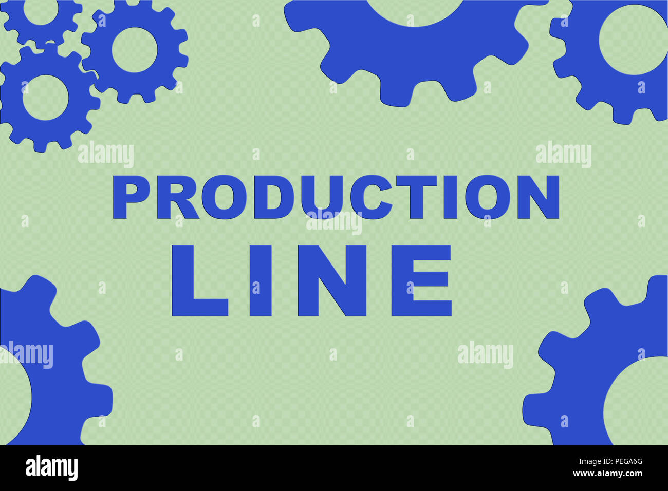 PRODUCTION LINE concept sign concept illustration with blue gear wheel figures on pale green background - Stock Image