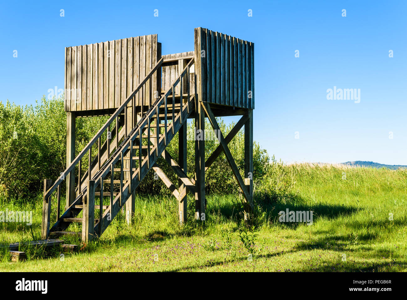 Wooden Bird Watching Tower At A Beach Meadow Overlooking The