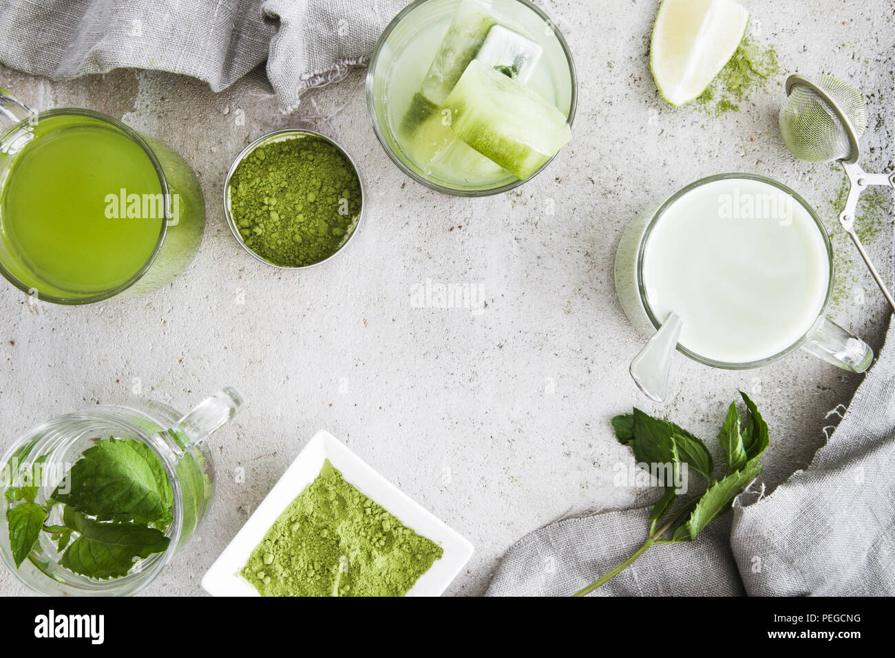 Selection of matcha beverages - Stock Image