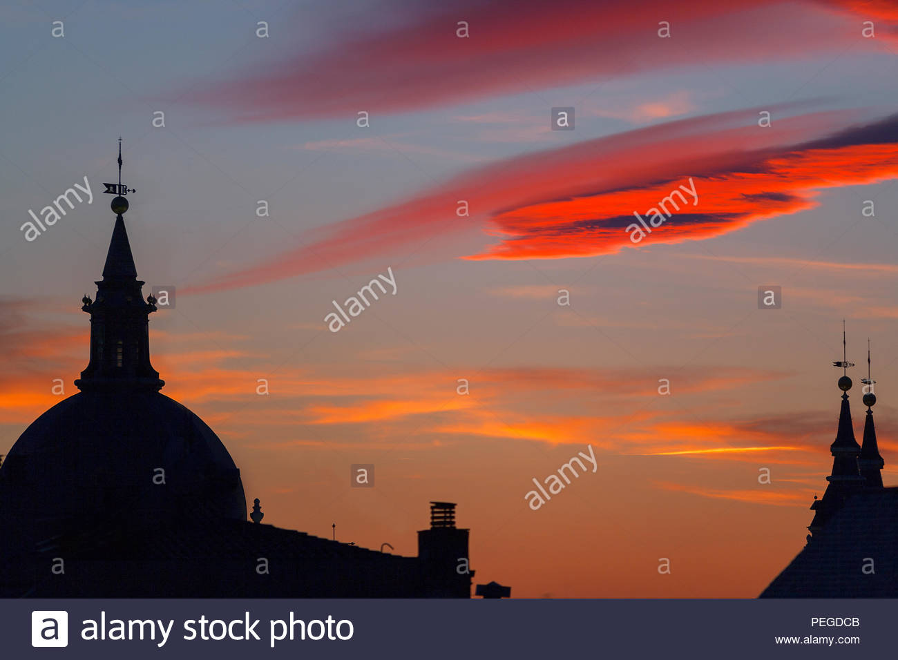 Rooftop view of Plaza Mayor, Madrid, Spain, Europe - Stock Image
