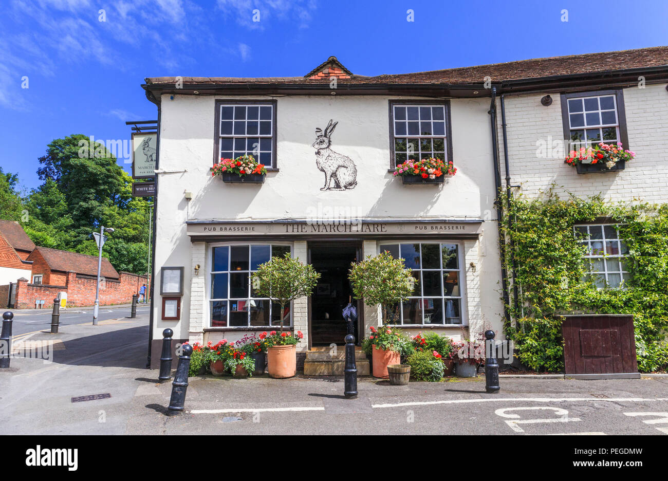 The March Hare, a whitewashed small pub brasserie in South Hill, central Guildford, county town of Surrey, southeast England, UK on a sunny day - Stock Image