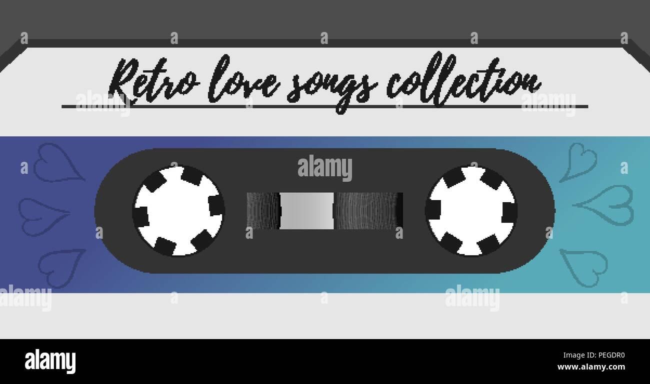 Retro style magnetic audiotape background. 1980s vintage album music storage device. Old audio tape cassette - Stock Image