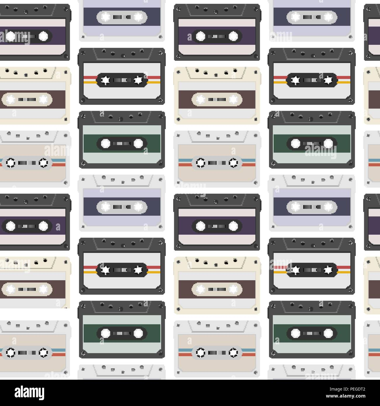 Vintage seamless pattern with analogue music cassettes. 80s Loopable background with magnetic audio tapes - Stock Image