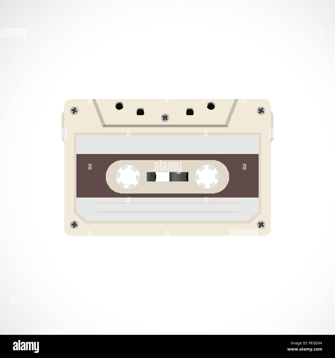 Retro style magnetic audiotape. 1980s vintage album music storage device. Old audio tape cassette - Stock Image