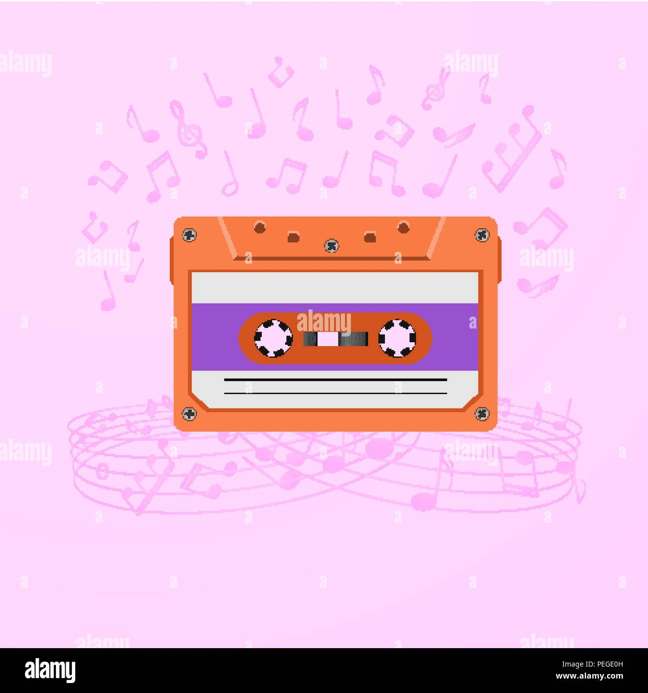 Retro music background with magnetic audio tape and notes. - Stock Image