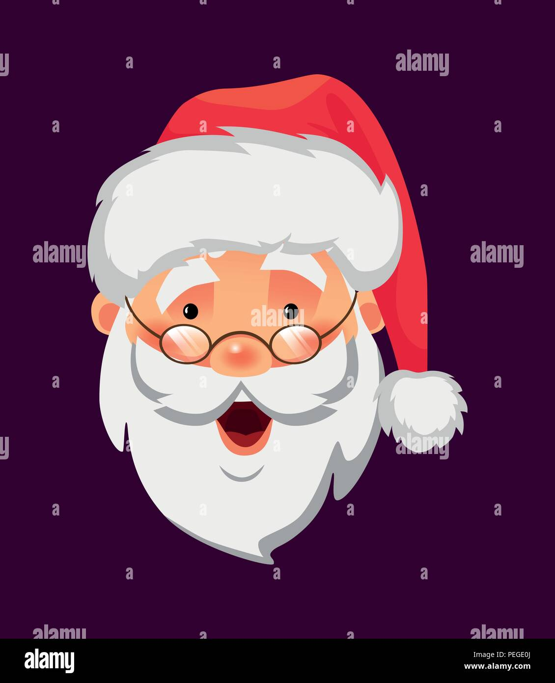 Santa Claus icon. Face of Santa Claus in red hat vector illustration - Stock Vector