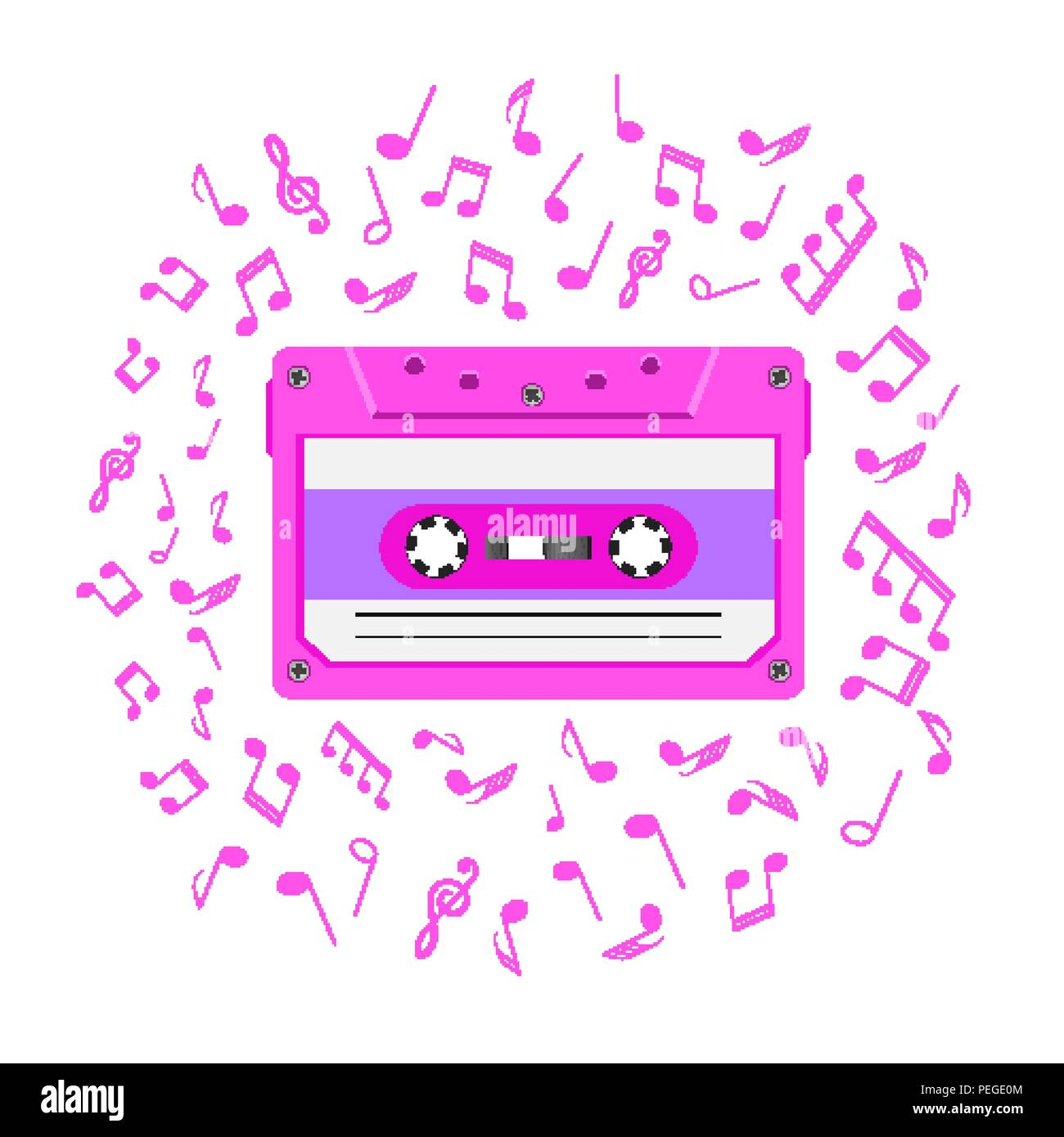 1080s retro music background with magnetic audio tape and notes - Stock Image