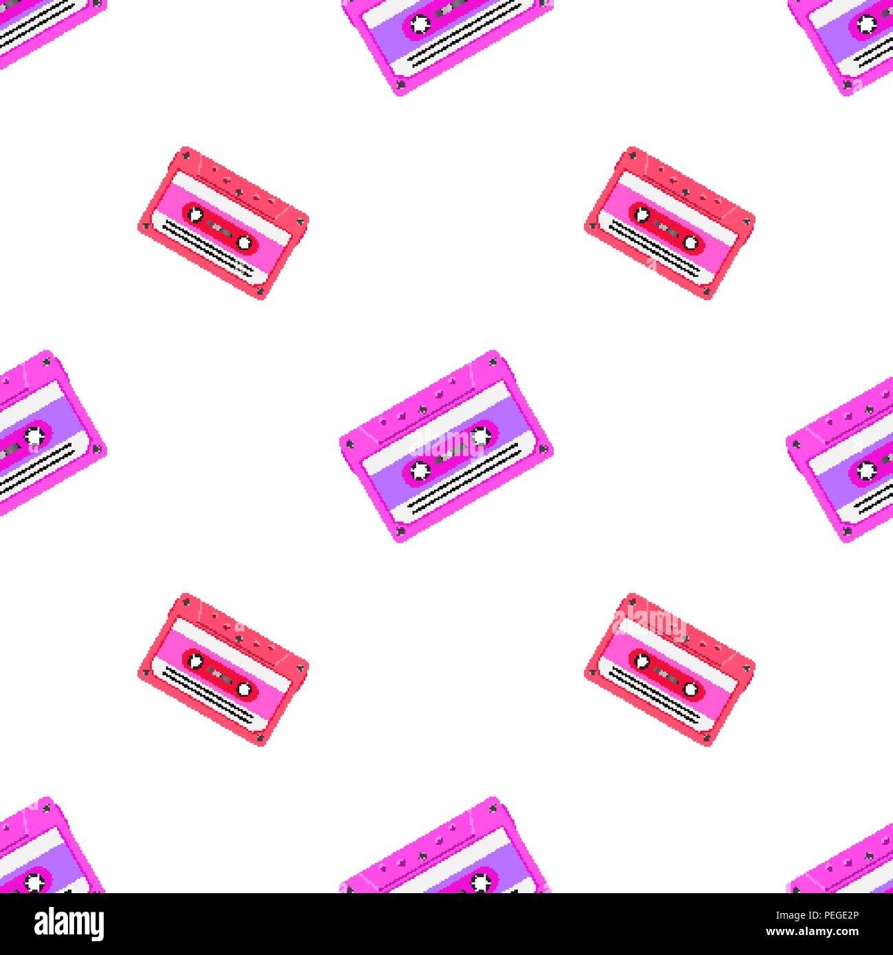 Retro seamless background with audio tapes. Magnetic audiotapes tileable pattern - Stock Image