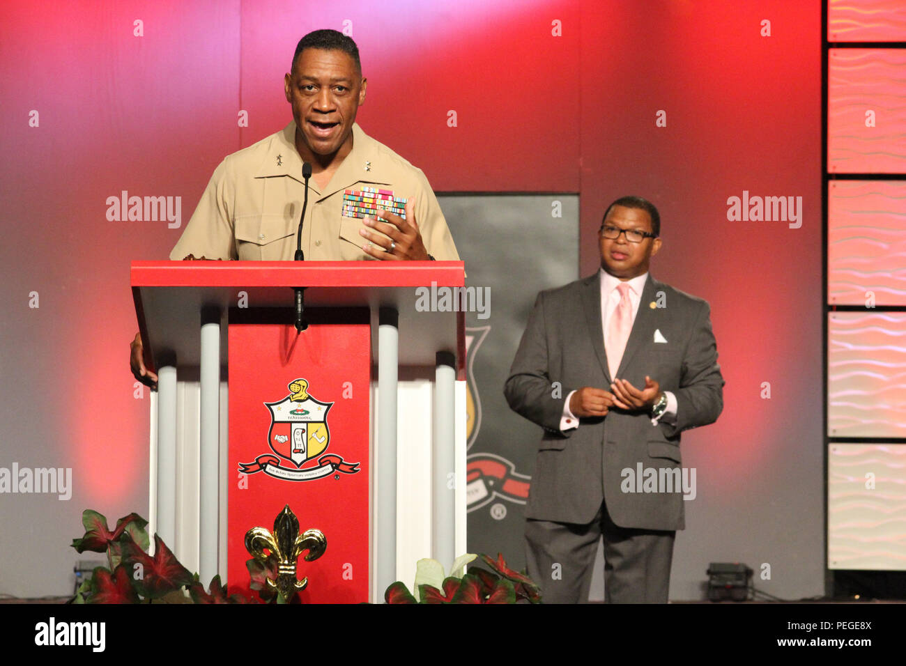 Maj. Gen. Craig Crenshaw, Headquarters Marine Corps assistant deputy commandant for installations and logistics, speaks after receiving the Kappa Alpha Psi Fraternity Partner Appreciation Award during the Kappa Alpha Psi Fraternity, Inc., 82nd Grand Chapter Meeting held in New Orleans, Aug. 13, 2015. Being among one of few predominately African-American fraternities, the organization was founded on January 5, 1911 and was known to never exclude a student from membership because of race, creed, or national origin.   (U.S. Marine Corps photo by Sgt. Rubin J. Tan) - Stock Image