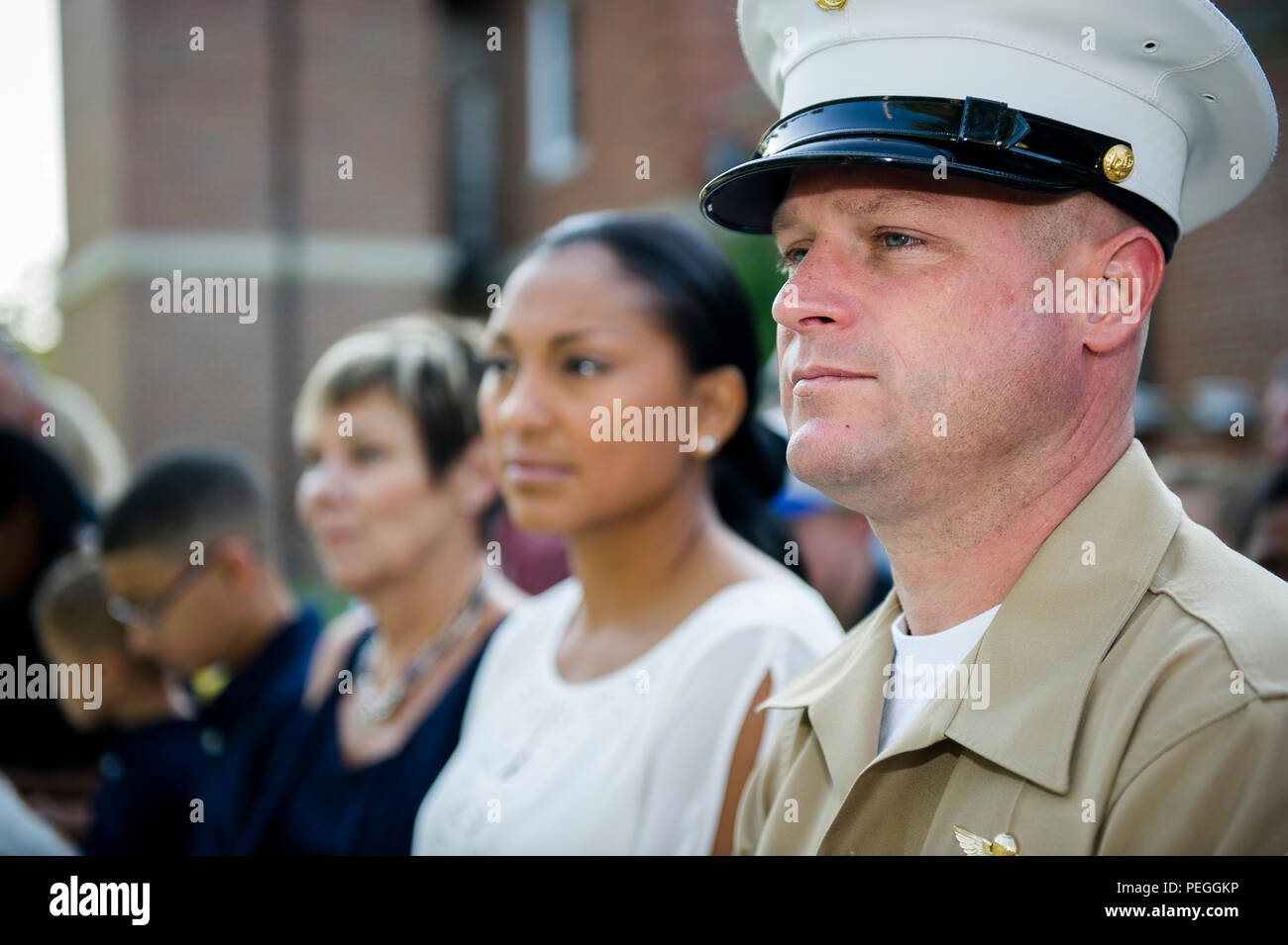 af9868c7e01 U.S. Marine Corps 1st Sgt. Joseph Meredith is honored during a retirement  ceremony held Marine