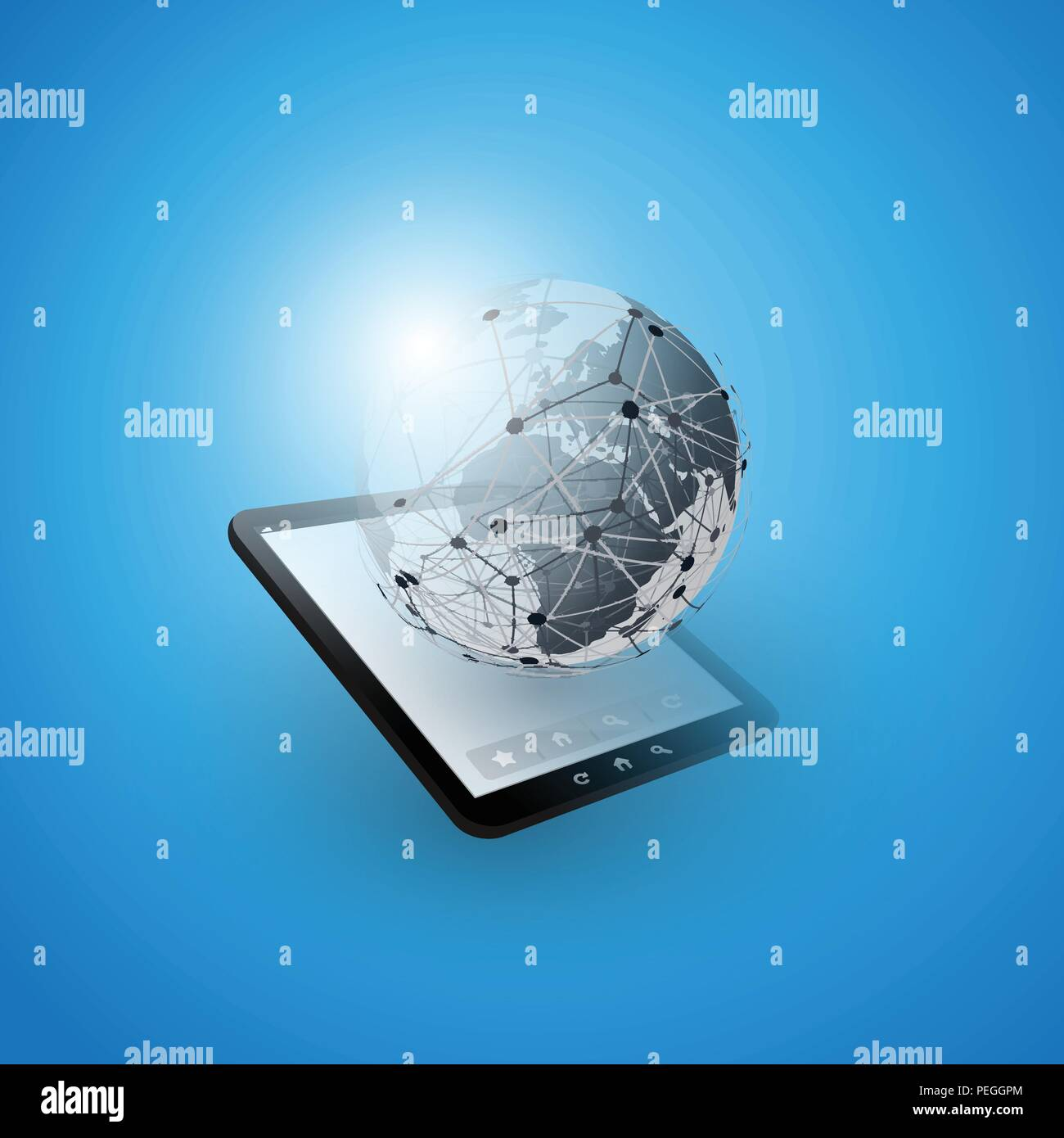 Cloud Computing Design Concept with Earth Globe and Tablet