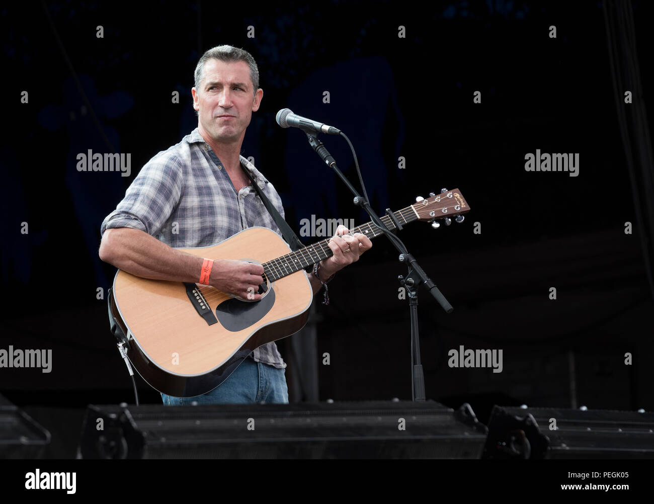 Eric Sedge performing at Fairport's Cropredy Convention, England, UK. August 11, 2018 - Stock Image