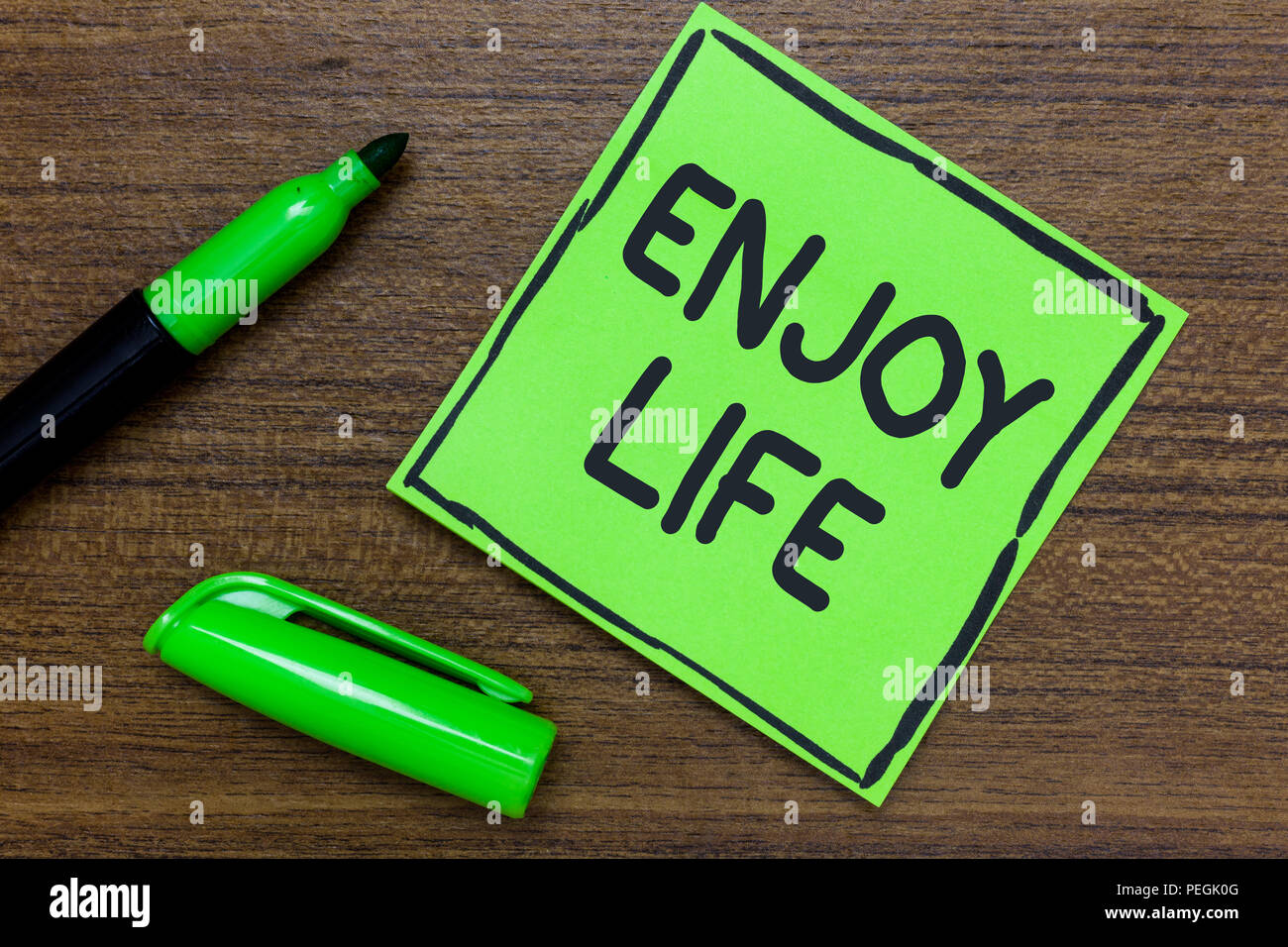 Conceptual hand writing showing Enjoy Life. Business photo showcasing Any thing, place,food or person, that makes you relax and happy Green Paper Comm - Stock Image