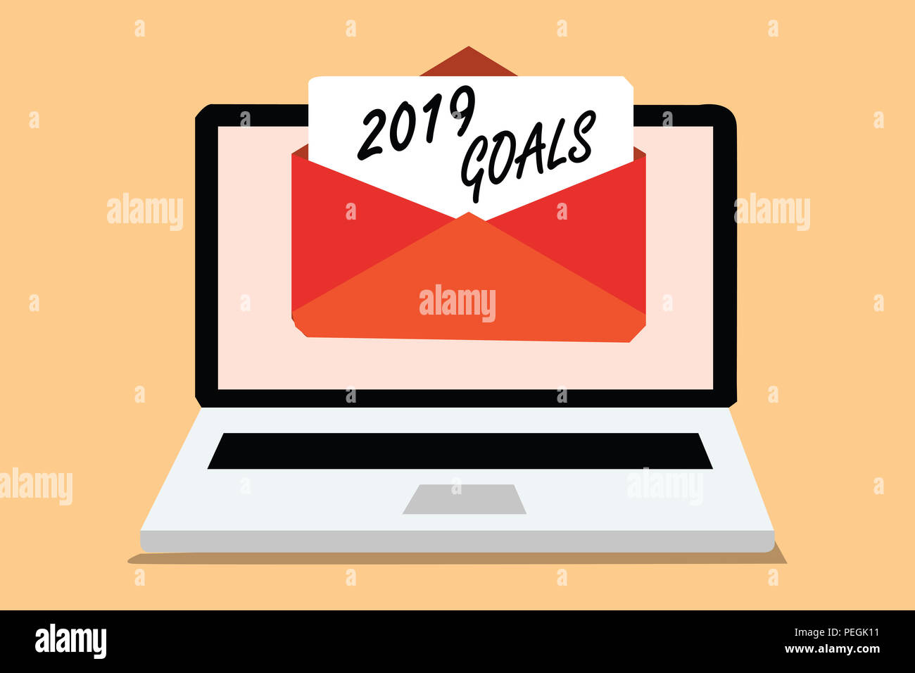 Handwriting text 2019 Goals. Concept meaning A plan to do for something new and better for the coming year Computer receiving email important message  - Stock Image