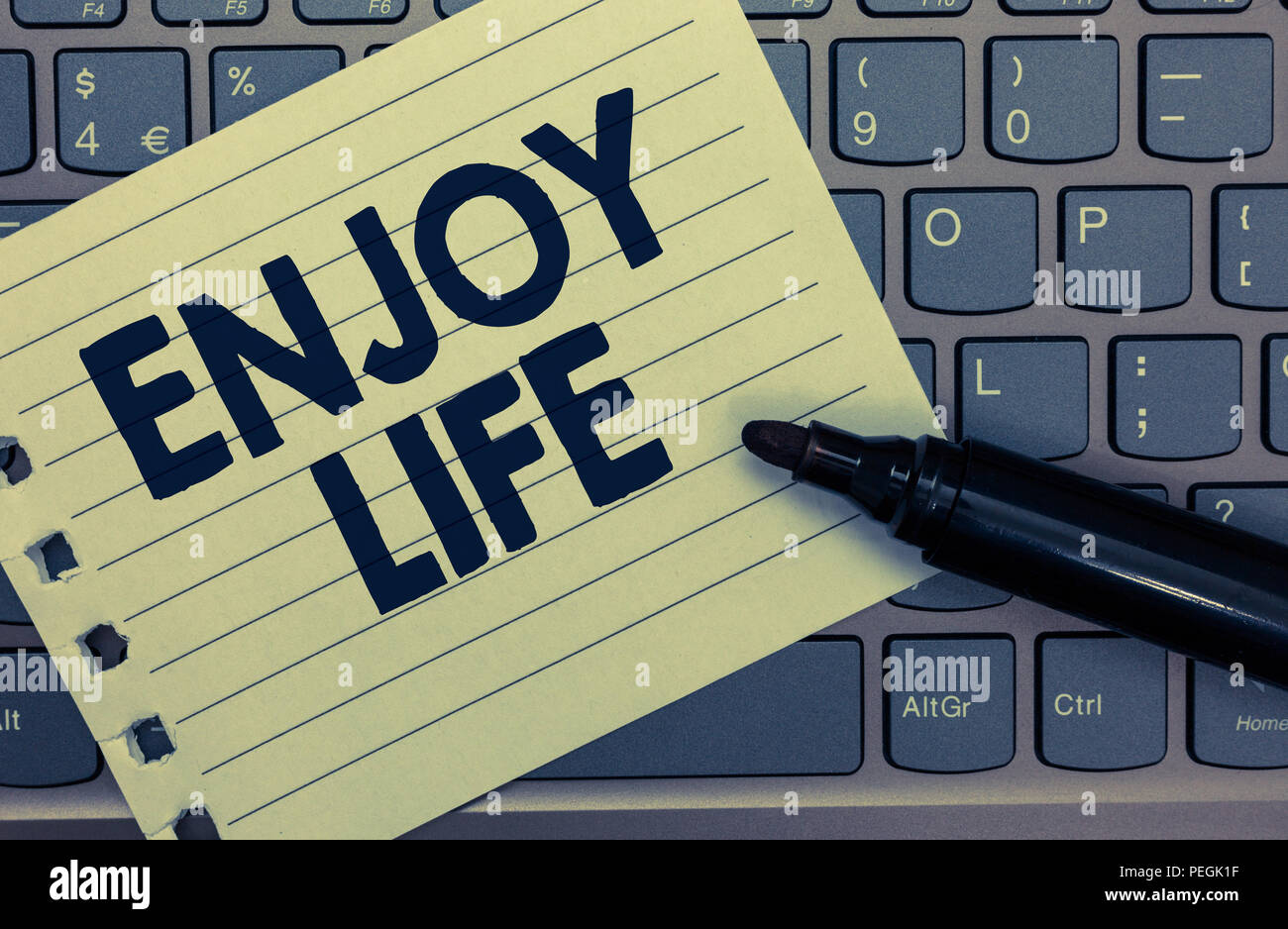 Conceptual hand writing showing Enjoy Life. Business photo showcasing Any thing, place,food or person, that makes you relax and happy Notebook paper k - Stock Image