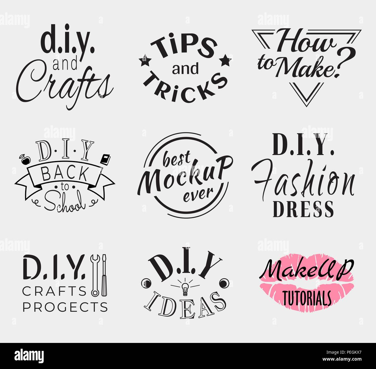Retro Vintage Insignias or Logotypes set. Vector design elements, business signs, logos, identity, labels, badges, apparel, shirts, ribbons, stickers and other branding objects. - Stock Vector