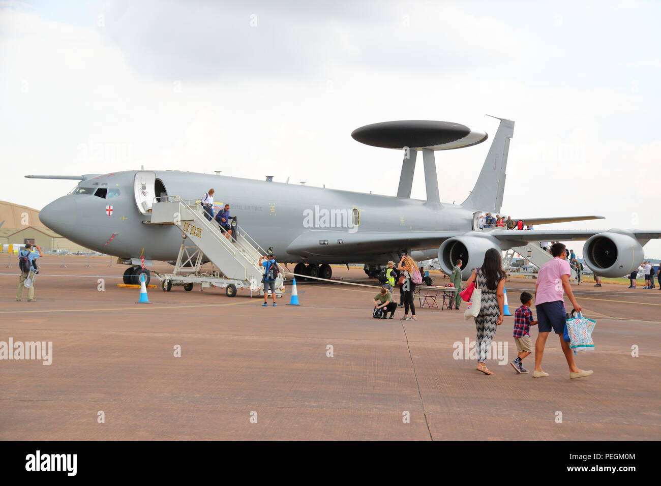 An RAF Boeing E-3D Sentry AWACS plane at the RIAT 2018 at RAF Fairford, UK - Stock Image