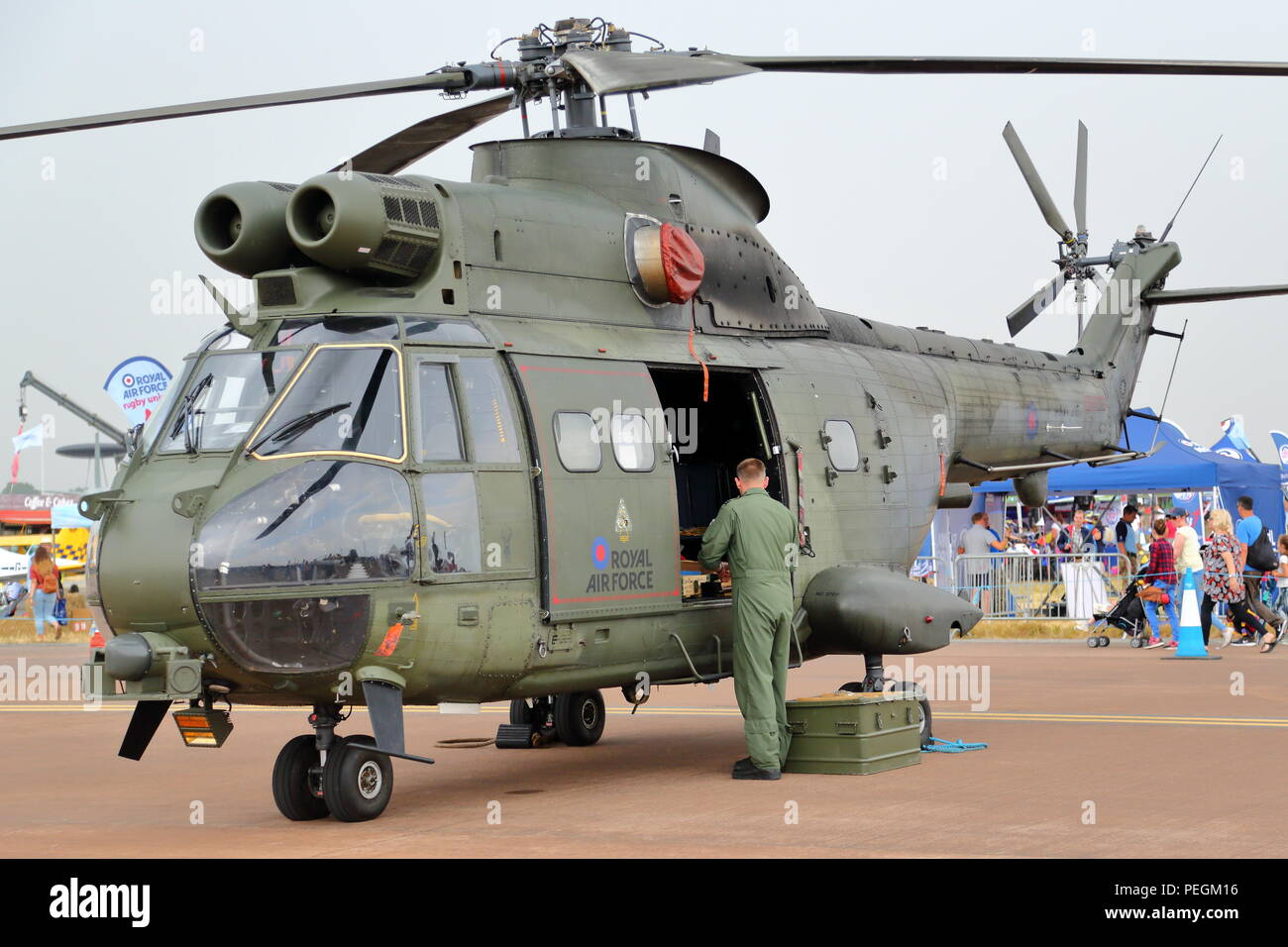 An Aerospitale SA 330 Puma helicopterat the RIAT 2018 at RAF Fairford, UK - Stock Image