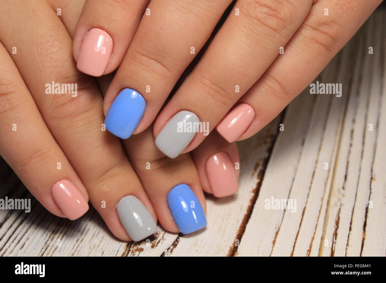 Hands With Beautiful Manicure Natural Nails With Gel Polish Stock Photo Alamy