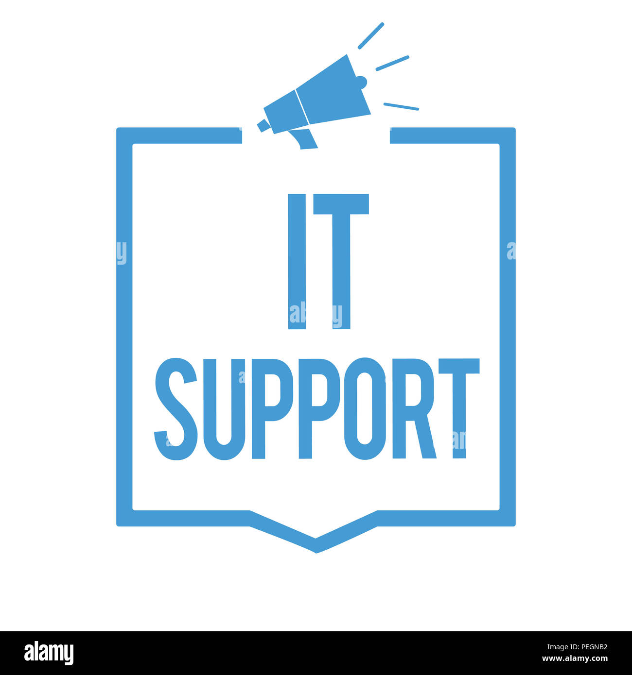 Word writing text It Support. Business concept for Lending help about information technologies and relative issues Megaphone loudspeaker blue frame co Stock Photo