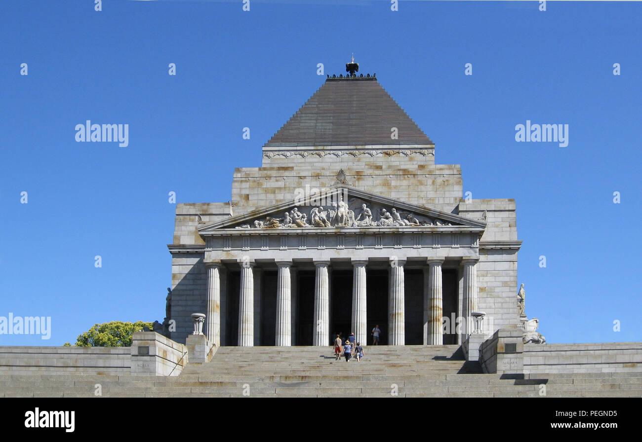 Shrine of Remembrance, Melbourne, Victoria, Australia - memorial for ANZAC (Australian New Zealand Army Corps) - Stock Image