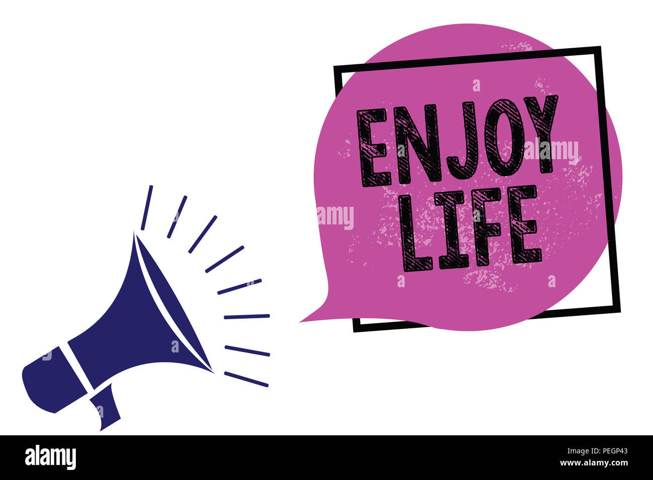 Handwriting text Enjoy Life. Concept meaning Any thing, place,food or person, that makes you relax and happy Megaphone loudspeaker speaking loud screa - Stock Image