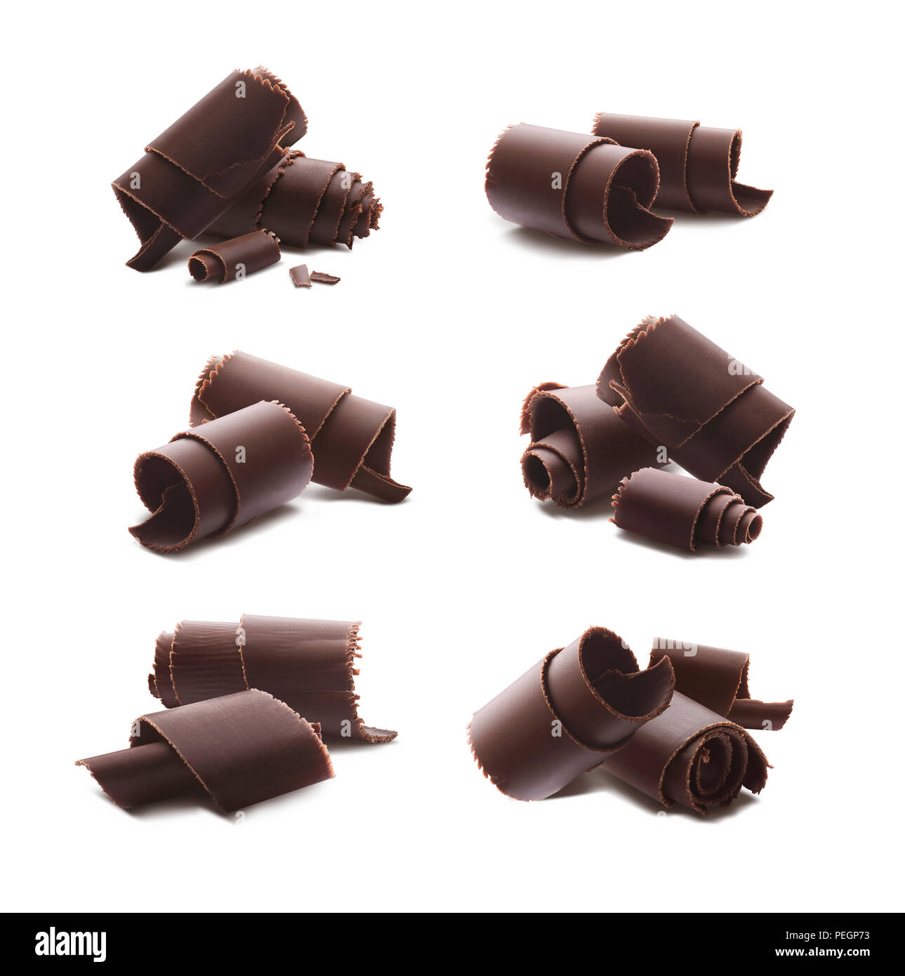 Chocolate curls shavings isolated on white background as package design element - Stock Image