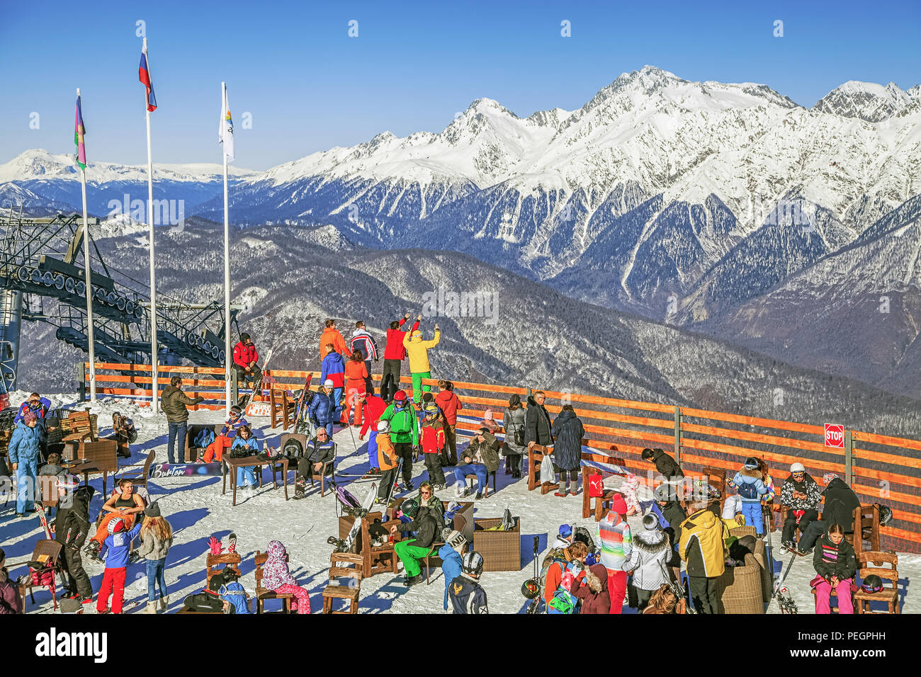 sochi, russia - december 19, 2015: observation site at the ski