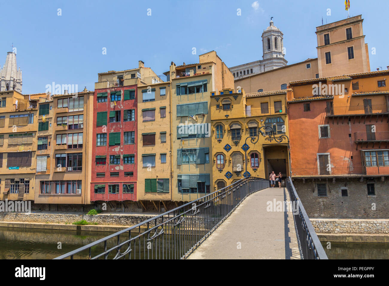 Girona. Multi-colored facades of houses on the river Onyar. Stock Photo
