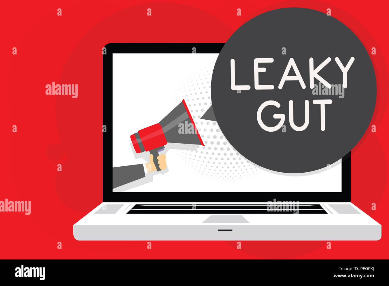 Handwriting text writing Leaky Gut. Concept meaning A condition in which the lining of small intestine is damaged Man holding Megaphone loudspeaker co - Stock Image